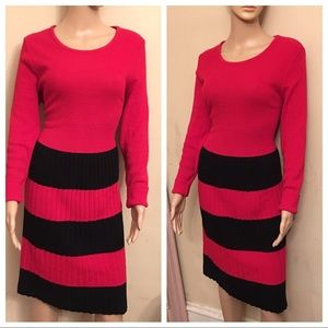 Nina Leonard mixed knit sweater dress